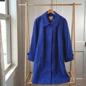 Blue Wool Coat Peacoat Royal 1X Long Trench